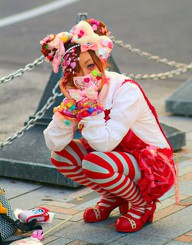 red striped decora kawaii