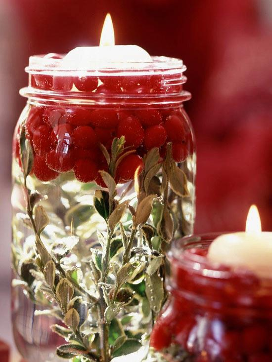 cranberry jar christmas candle