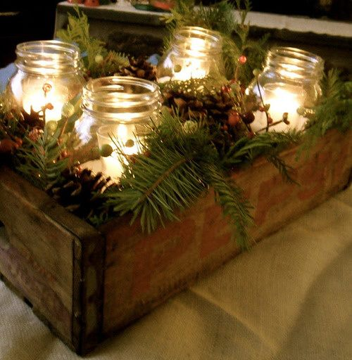DIY outdoor jar candle display