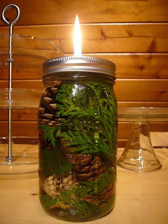 mason jar winter candle