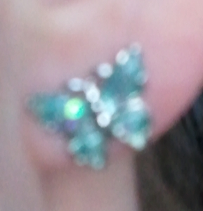 ootd blue butterfly earring