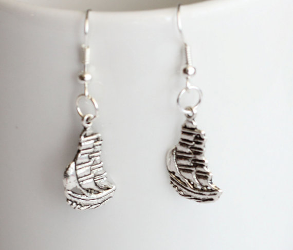 Pirates of the c sailing ship earrings
