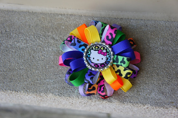 rainbow leopard print hk hair bow