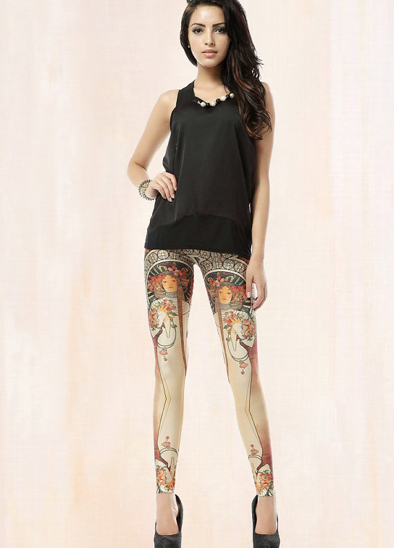 art nouv leggings etsy