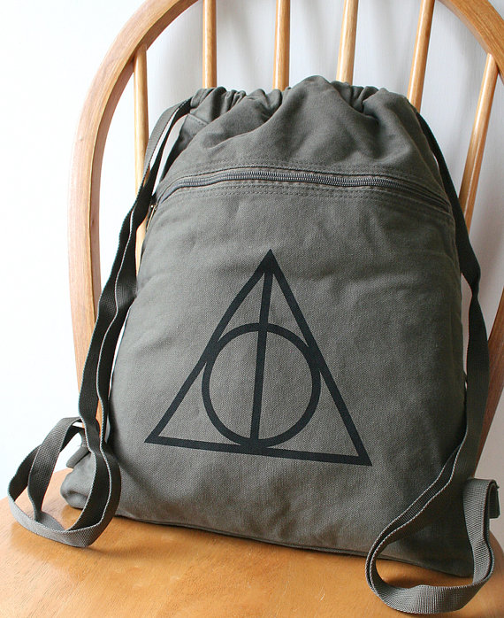 deathly hallows harry potter backpack etsy