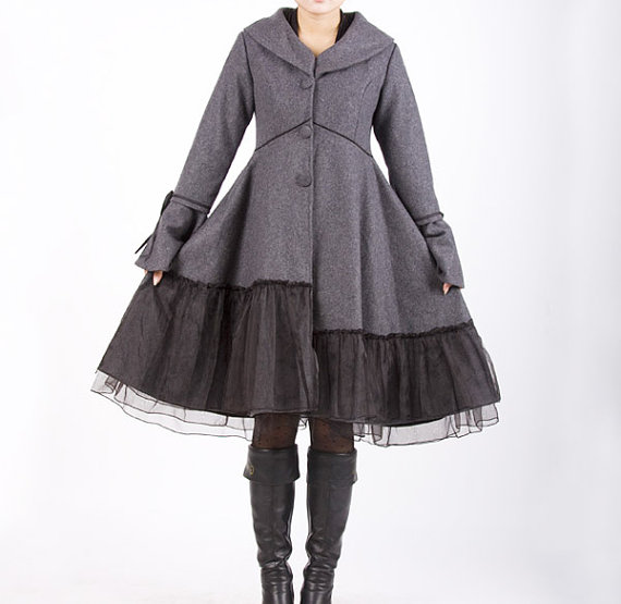 grey lolita style coat etsy