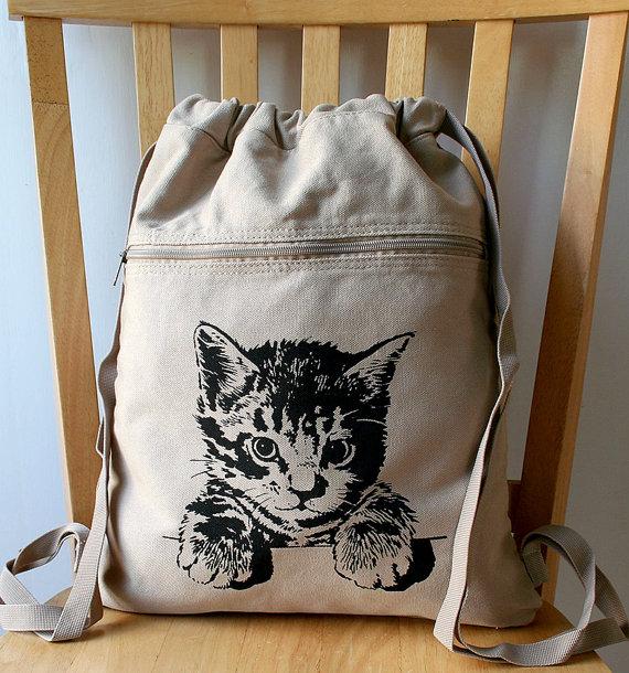 kitten backpack etsy