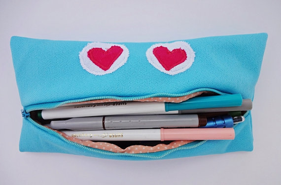 turquoise and peach monster pencil case etsy